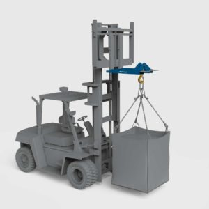 fork mounted hook attachment on a forklift lifting bulk bag
