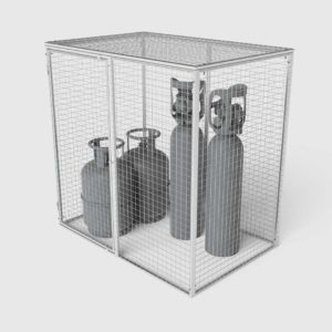 gas cage for storage of gas bottles and cylinders