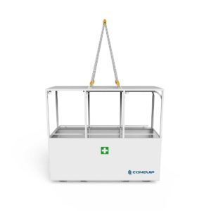 stretcher cage for safe transportation of injured site workers on a stretcher