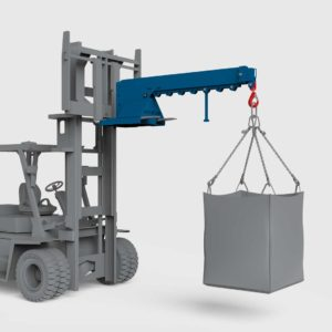conquip forklift crane arm on a forklift lifting a load