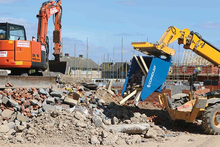 autolock self tipping skip used for waste management on a development site